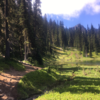 Trail winding past Henskin Lake