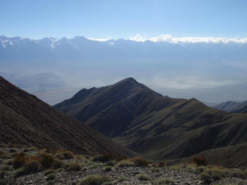 View west from just below Forgotten Pass. Sierra Nevada across Owens Valley.
