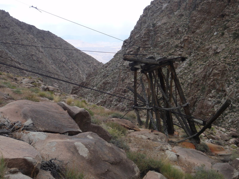 Parts of the old tramway. Follow the cables up to another cabin on the ridge above. Keynot Mine is then beyond that. Go east from here to Snowflake Mine and Saline Valley.