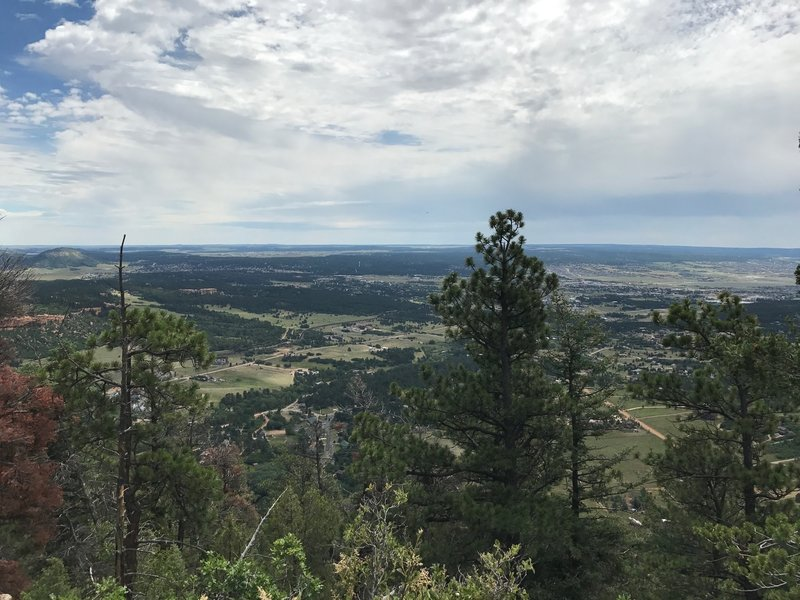 The view eastward over Palmer Lake and Monument from the top of Chautauqua Mountain