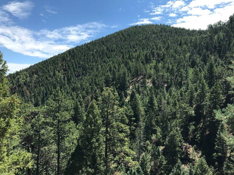 Northwest side of Chautauqua Mountain viewed from Balanced Rock Rd.