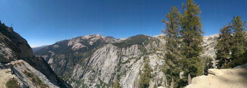 Lakes Trail: view down the canyon. The Watchtower is ahead but still not visible here.
