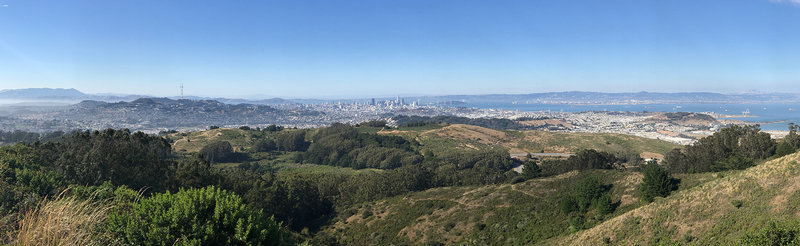 Amazing panoramic views of the North Bay, San Francisco and the East Bay. At about the same height as the top of Sutro Tower.