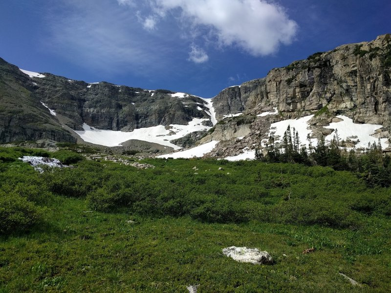 Looking up toward Gibraltar Lake and the smaller St Vrain Glaciers