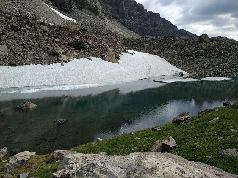 Icy lake at the end of the trail. From here make a scramble to the larger glaciers up valley.