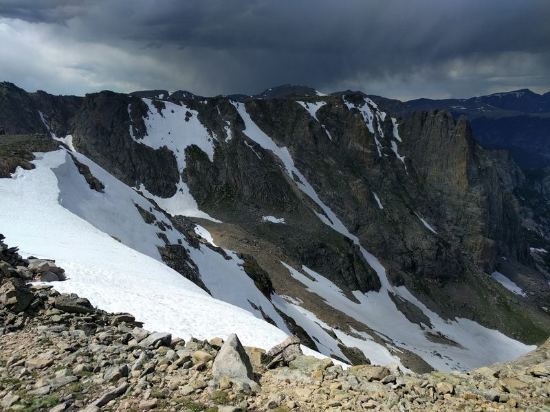 View of Notchtop Couloir from Flaptop Mountain.