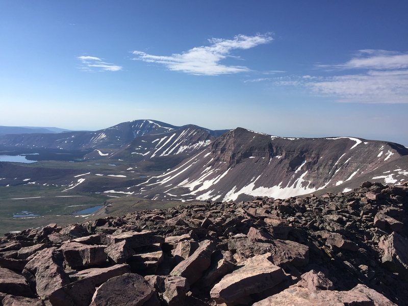 A view of the Kings-Emmons ridge from the top of Kings Peak.
