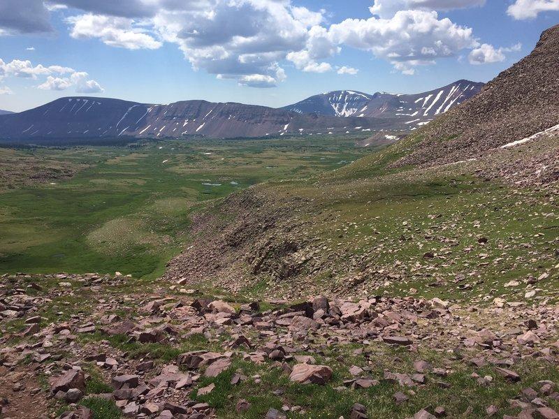 A view into Painter Basin from near Gunsight Pass.