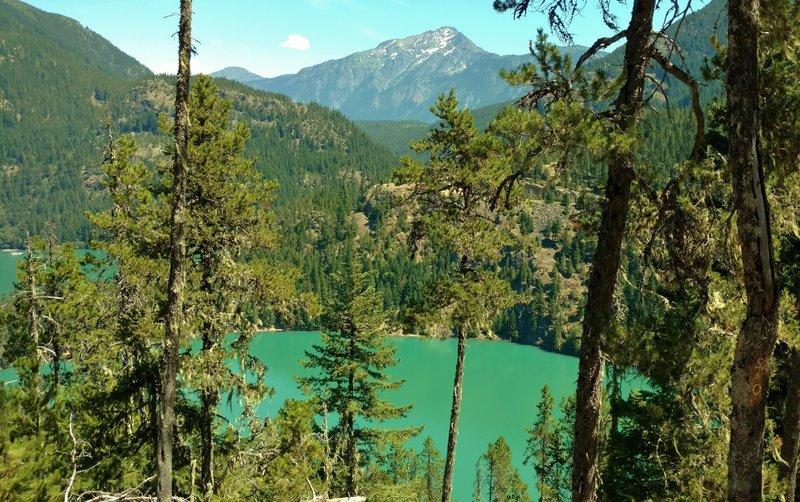 Diablo Lake below, looking east-northeast from Thunder Knob