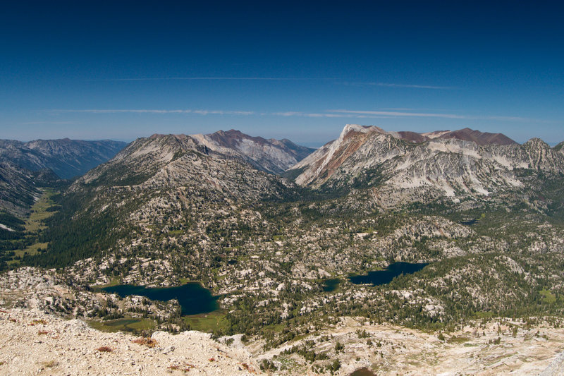 View from the summit with Mirror Lake, Sunshine Lake and Moccasin Lake in the foreground.