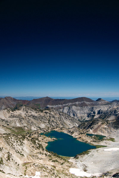Glacier lake lies almost due west of the summit. The photo use a heavy graduated filter for the dark skies.