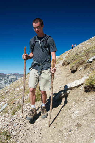 Jeff makes good use of the double walking-stick method on the descent from Eagle Cap Summit.