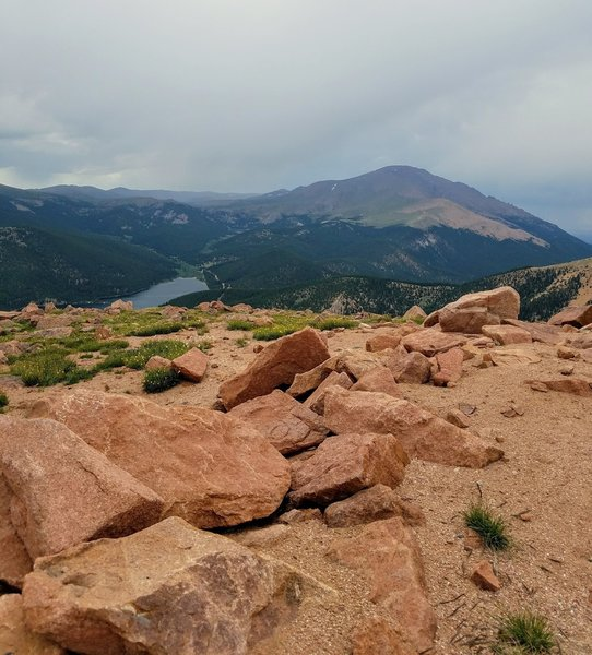 McReynolds Reservoir with Pikes Peak in the background. View from summit of Almagre Mountain South.
