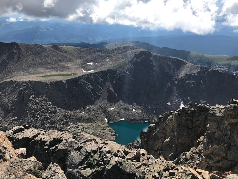 From the summit of Holy Cross, looking down to the Bowl of Tears