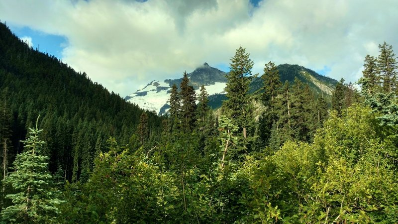 Mt. Logan appears to the southwest as Fisher Creek Trail climbs