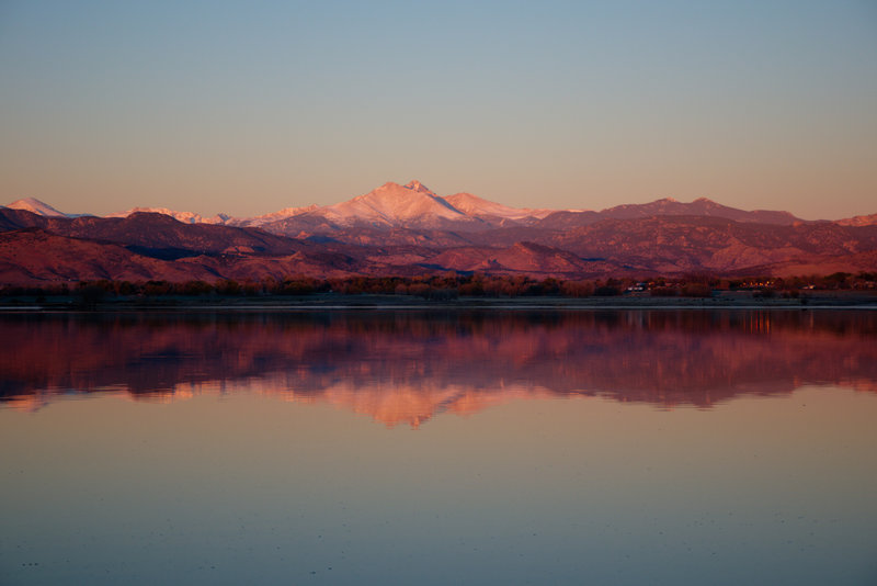 Longs Peak from McIntosh Lake Trail at sunrise