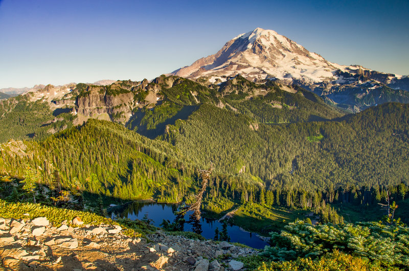 Mt. Rainier from Tolmie Peak Lookout with Eunice Lake visible in the forefront