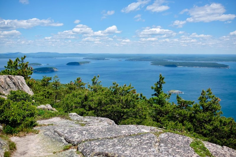 Atop Champlain Mountain with views of Porcupine Islands in distance.