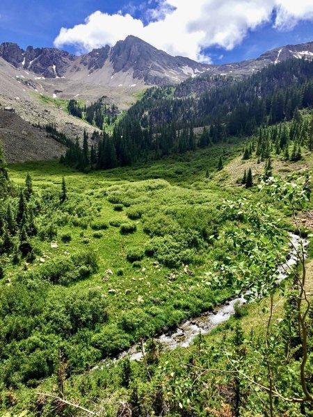 A view of Pine Creek and Malamute Peak.