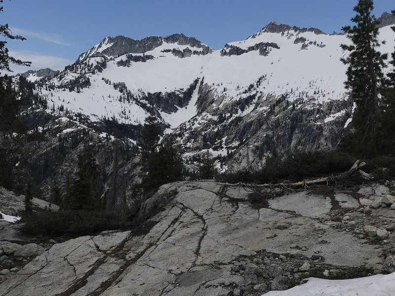 Looking toward Mount Hilton above Upper Canyon Creek Lake from Little Lake (L Lake) Trail in Trinity Alps Wilderness