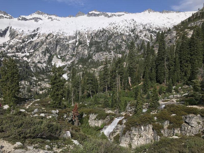 Waterfall on Little Lake (L Lake) Trail in Trinity Alps Wilderness