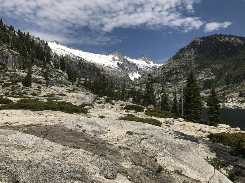 Looking down Canyon Creek drainage from near Lower Canyon Creek Lake in Trinity Alps Wilderness
