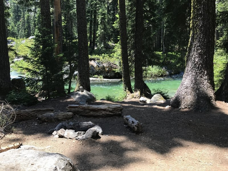 Camp site on beautiful Canyon Creek in Trinity Alps Wilderness