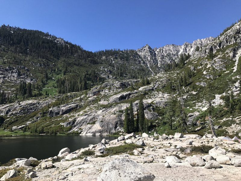 Looking toward Kalmis Pass and Little Lake (L Lake) Trail above Upper Canyon Creek Lake in Trinity Alps Wilderness
