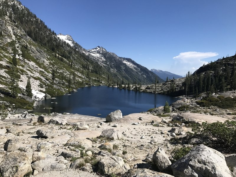 View of Lower Canyon Creek Lake from Upper Canyon Creek Lake in Trinity Alps Wilderness