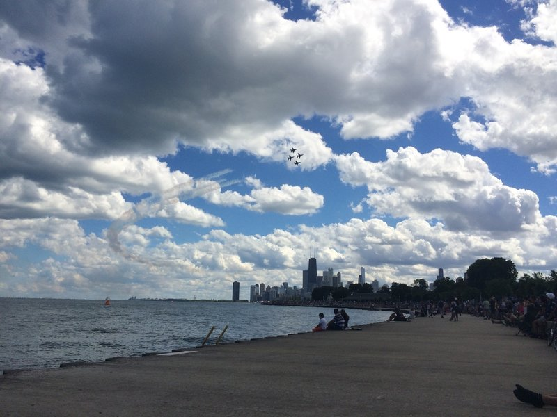 Watching the Chicago Air and Water show from the Lakefront. Near Diversey Ave looking south.