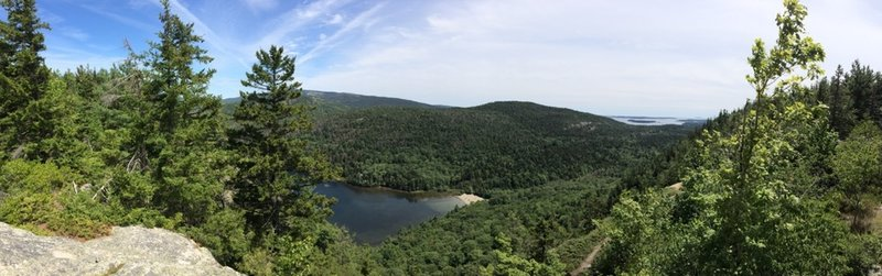 View of Echo Lake Beach from the top of the Beach Cliff Trail.