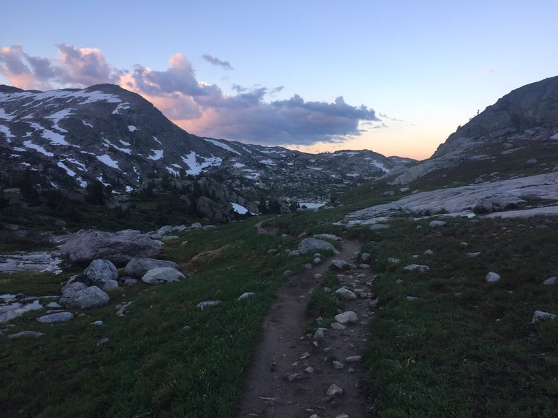 A view of the trail heading up into Titcomb Basin