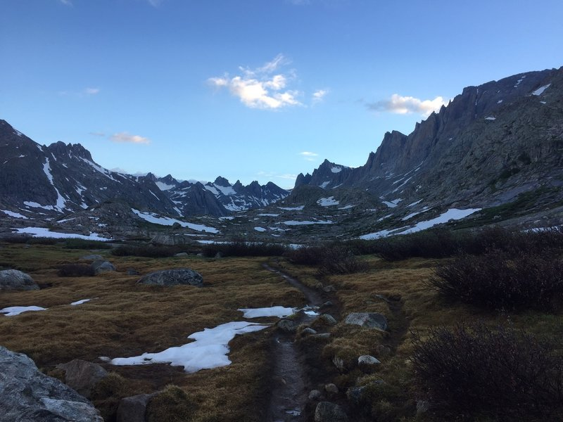 A view of Titcomb Basin from the lower end of the basin.