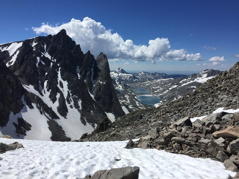 Mount Helen (front left) and Titcomb Basin and lakes from Bonney Pass