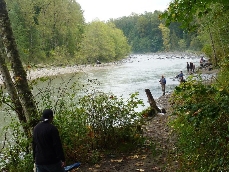 Fishermen at the confluence of the Sandy River and Cedar Creek