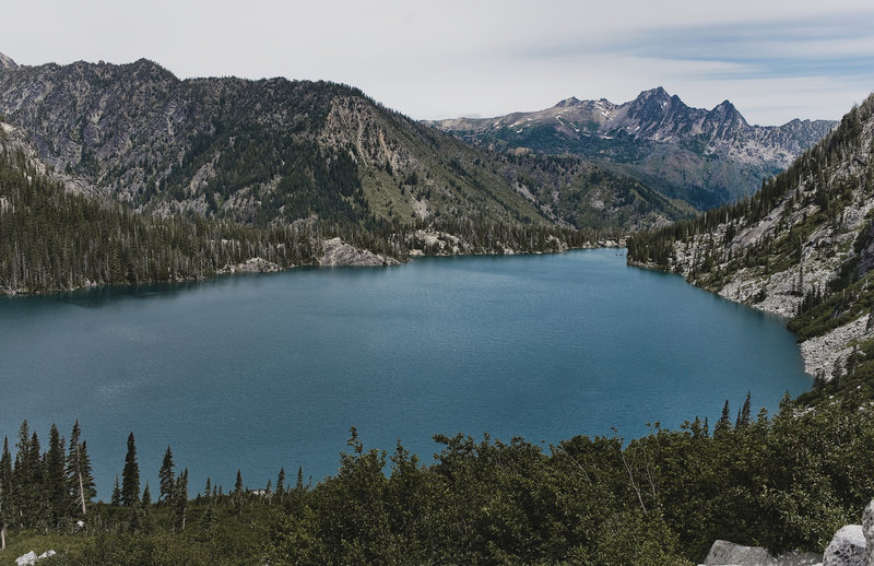View of Colchuck Lake from about halfway up Aasgard Pass.