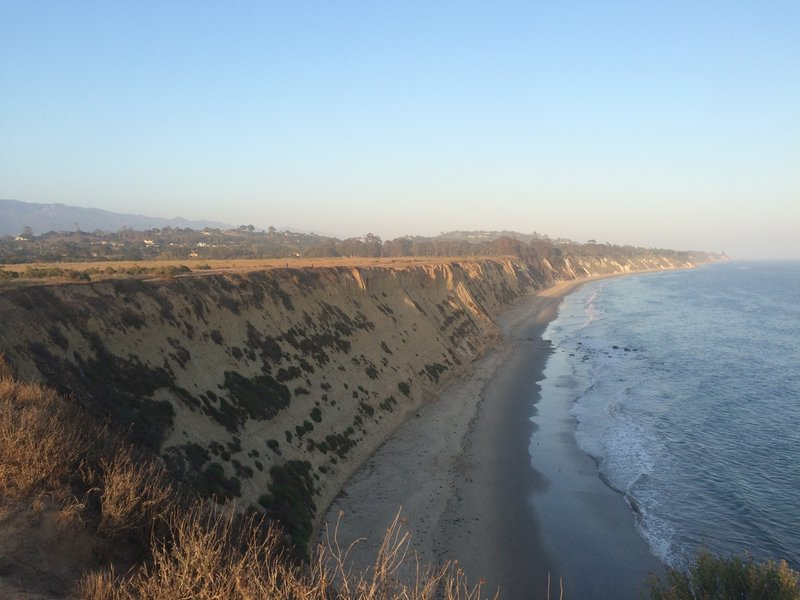 Looking down the coast from the bluffs above More Mesa Beach.