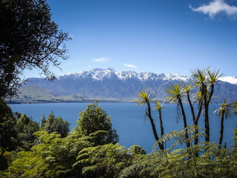 Arawata Track features tropical plants and the snow capped Remarkables mountains behind the crystal blue Lake Wakatipu