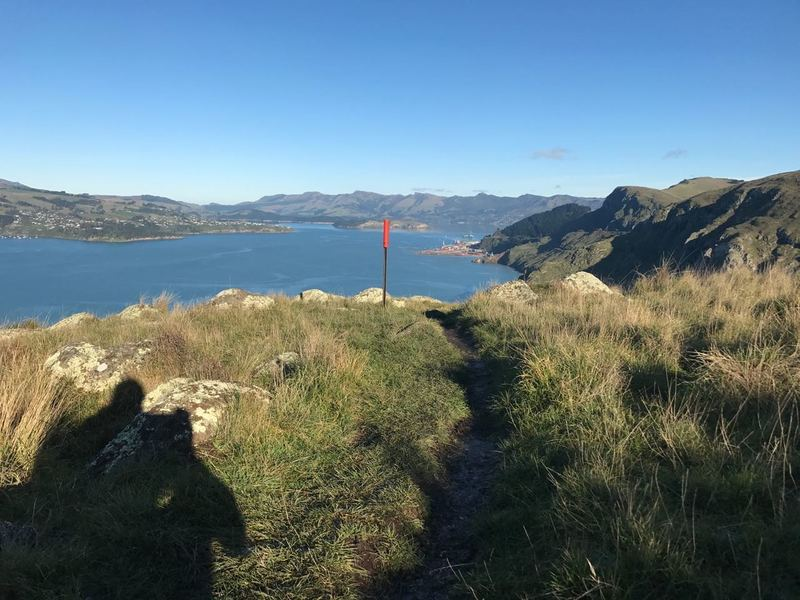 First Views of Lyttelton Port coming from the Godley Head end of the Crater Rim Walkway.