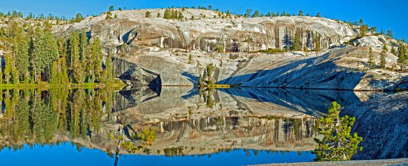 Kaleidoscope: morning reflections in Flora Lake