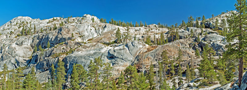 Polished granite cliffs on route to Spotted Fawn Lake. Head up canyon to the right and then cut across to the top right side of picture.