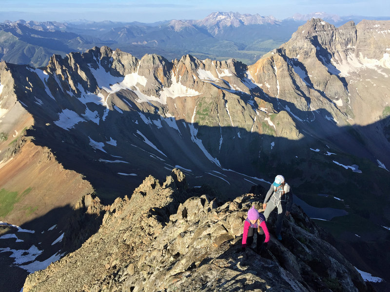 High exposure and easy climbing high on Sneffels' Southwest Ridge.