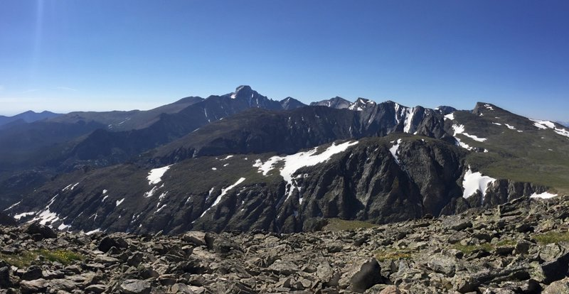 Panorama of Longs Peak and other mountains from Hallett Peak