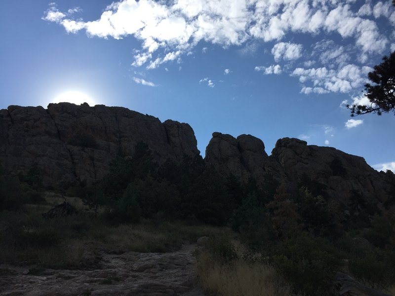 Shot of Horsetooth Rock, just before the final scramble