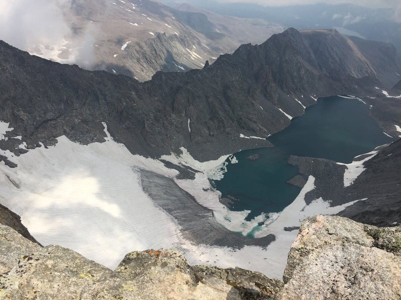 Beautiful glacier-fed lake. View from top.