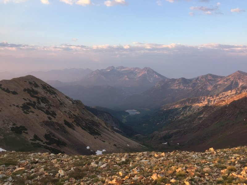 A smoky Mount Timpanogos (as well as Silver Lake Flat) from the top of American Fork Twin Peaks