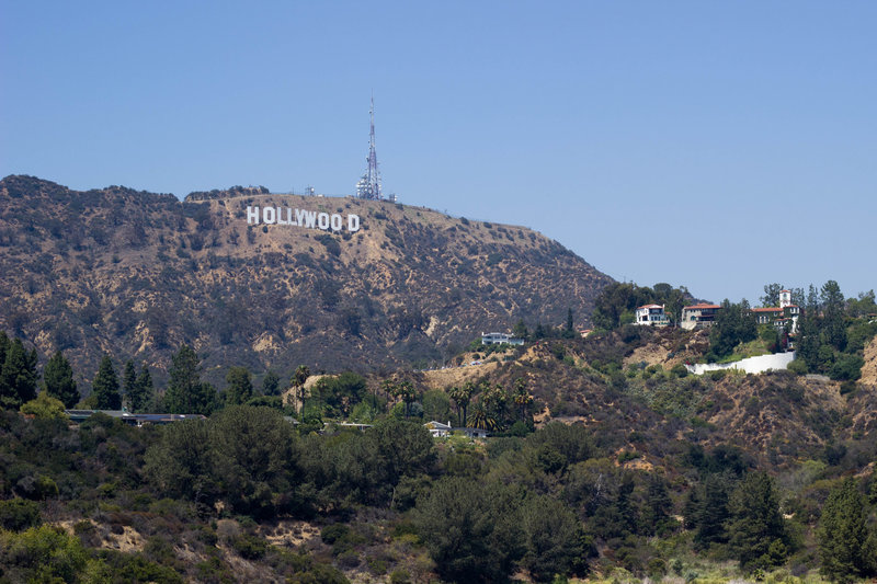 Hollywood sign from Mulholland Dam