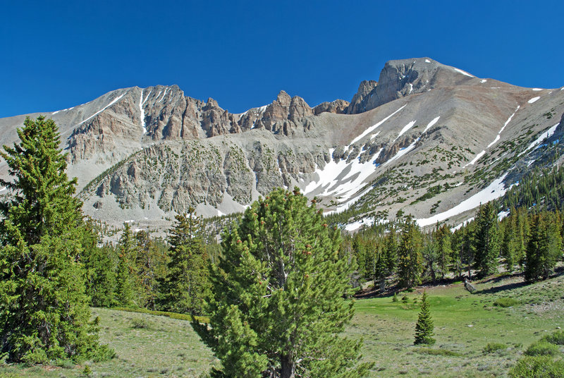 Wheeler Peak. The final climb is along the top of the ridge from right side.