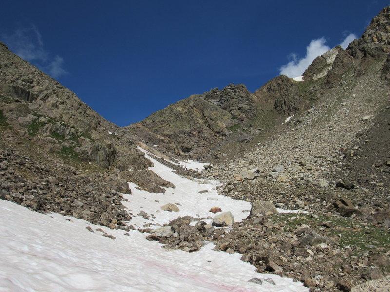 Snowy segments on Fancy Pass - Aug 6