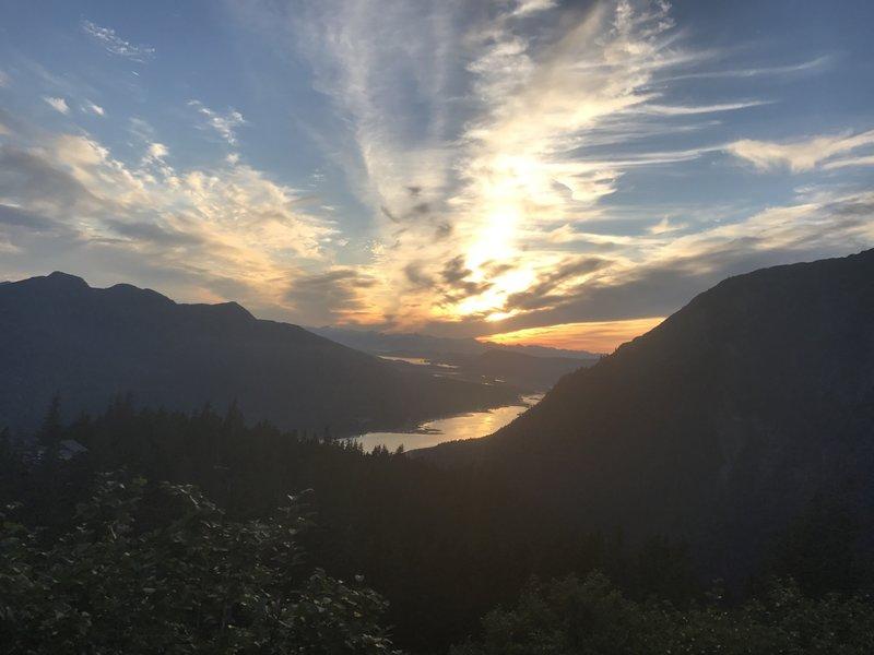 Sunset descent.